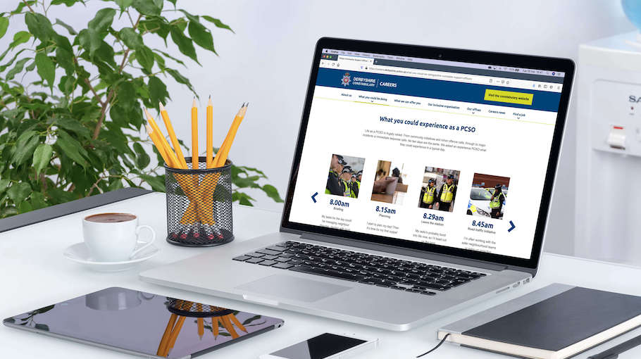 That Little Agency - Employer Branding - Careers Website - Derbyshire Constabulary - Laptop Image 910 x 510