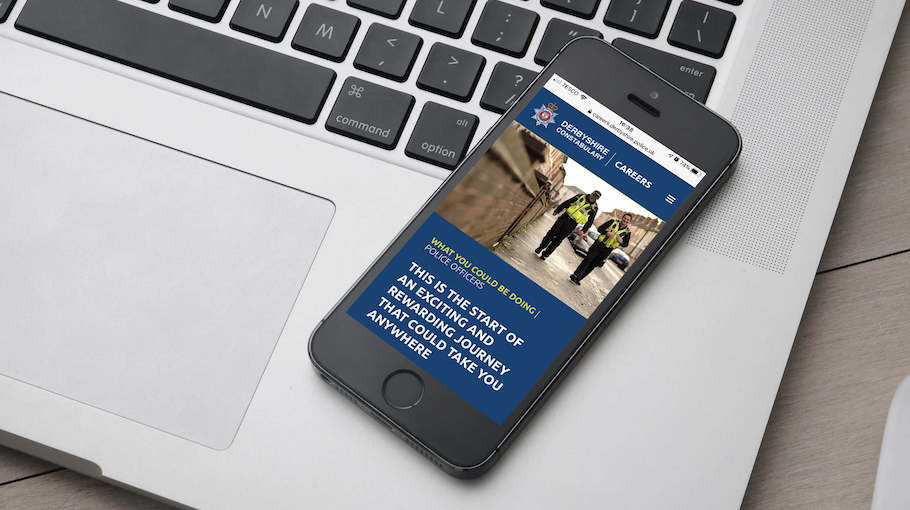That Little Agency - Employer Branding - Careers Website - Derbyshire Constabulary - Smartphone Image 910 x 510