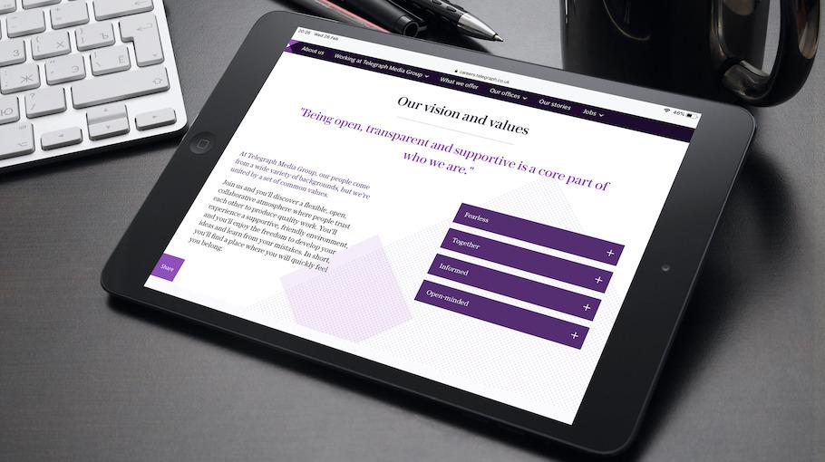 That Little Agency - Employer Branding - Careers Website - Telegraph Media Group - Tablet Image