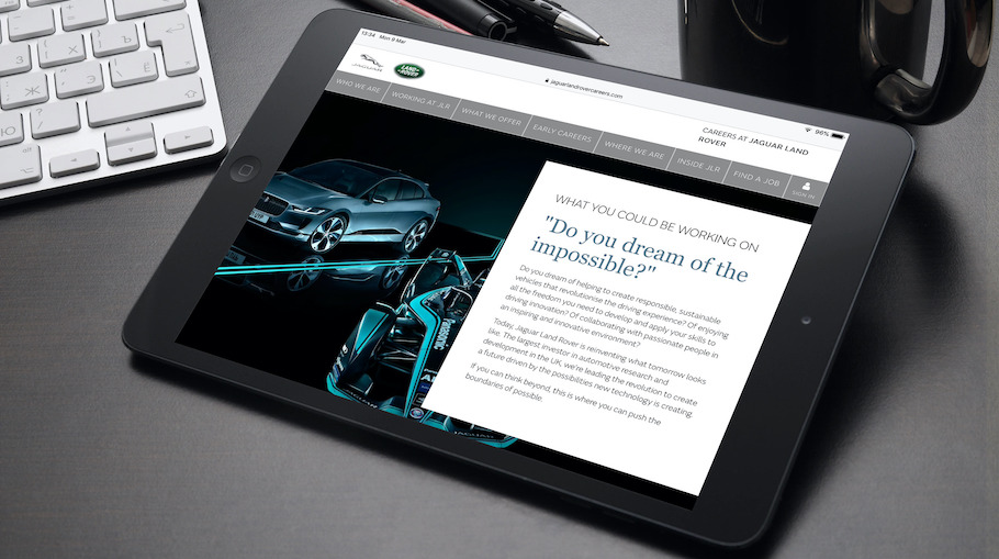 That Little Agency - Employer Branding - Careers Websites - Jaguar Landrover What You Could Be Doing Tablet Image