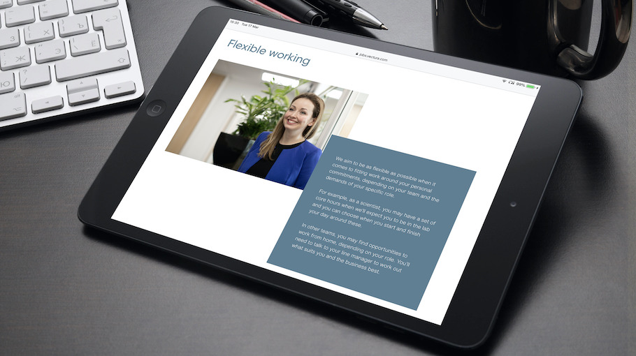That Little Agency - Employer Branding - Careers Websites - Vectura Flexible Working Tablet Image