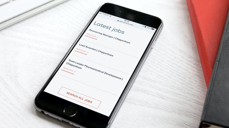 That Little Agency - Employer Branding - Careers Websites - Vectura Vacancies Smartphone Image